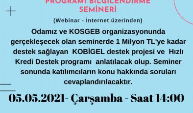 POLATLI TİCARET ODASINDA KOSGEB'İN DESTEKLERİ ANLATILACAK